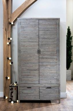 Armoire penderie bois recyclé grisé SIENNE