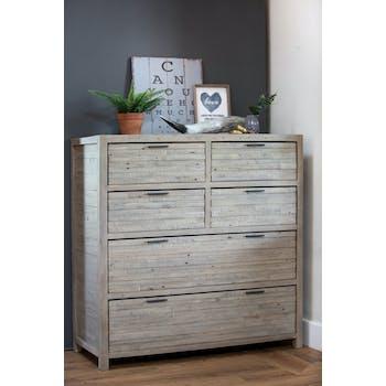 Commode bois recyclé grisé 6 tiroirs SIENNE
