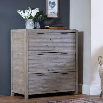 Commode bois recyclé grisé 3 tiroirs SIENNE