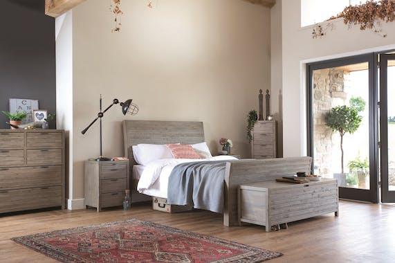Bout de lit coffre bois recyclé grisé SIENNE