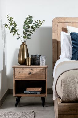 Table de chevet bois recyclé clair SALERNE