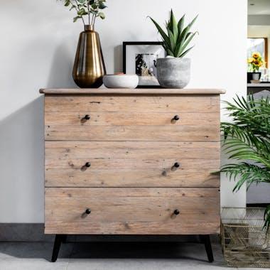 Commode bois recyclé clair 3 tiroirs SALERNE