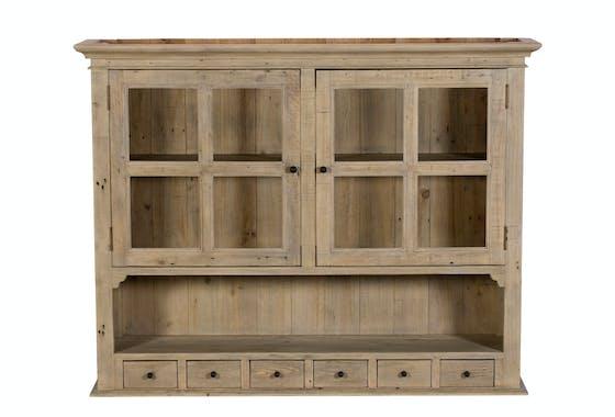 Buffet vitrine bois recyclé clair module haut SALERNE