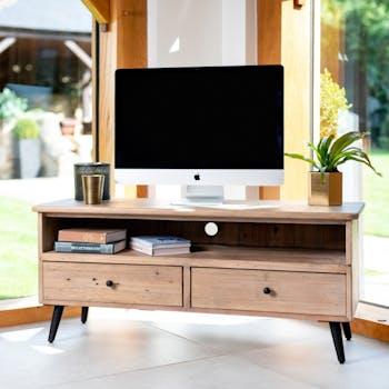 Petit meuble TV bois recyclé clair SALERNE