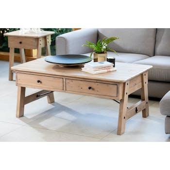 Table basse avec rangement bois recyclé clair tréteaux SALERNE