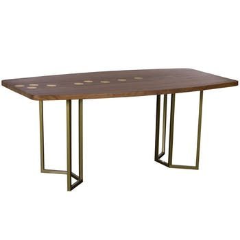 Table à manger bois d'acacia laiton 180 cm HOBART