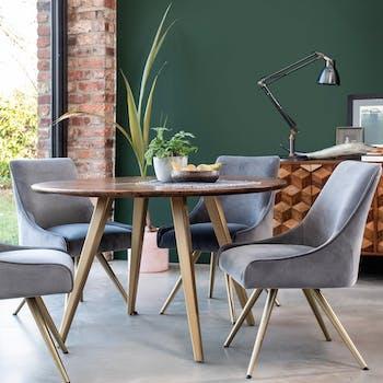 Table à manger ronde bois de manguier 120 cm SYRACUSE
