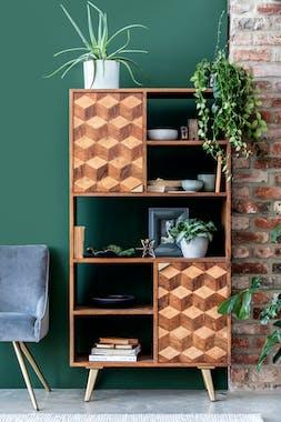 Bibliothèque étagère bois et marqueterie SYRACUSE