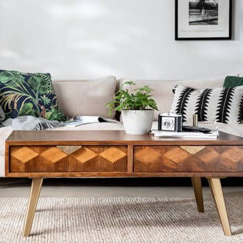 Table basse bois et marqueterie SYRACUSE