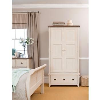 Armoire penderie blanche bois recyclé 107 cm BRISTOL