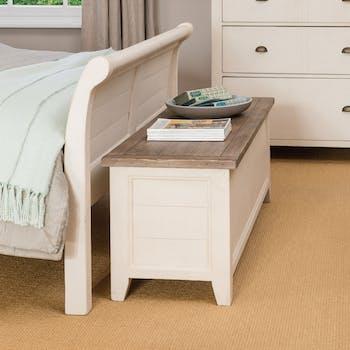 Coffre bout de lit blanc bois recyclé BRISTOL