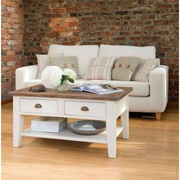 Table basse blanche bois recyclé BRISTOL