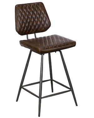Chaise de bar industrielle marron SALERNE