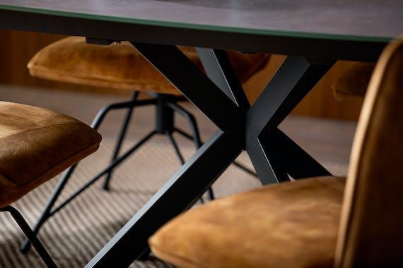 Table à manger verre gris clair pied mikado 135 cm OTTAWA