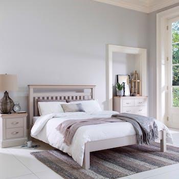 Lit 2 places blanc chêne et pin 180 cm PORTLAND