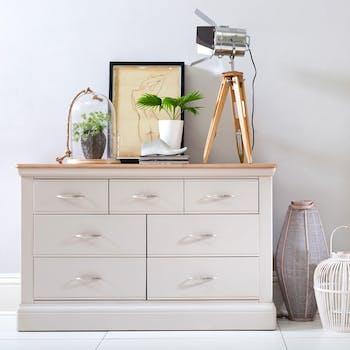 Commode blanche chêne et pin 7 tiroirs PORTLAND
