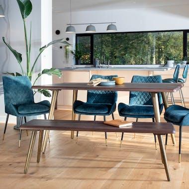 Table à manger rectangulaire bois recyclé brun 160 cm QUEENSTOWN