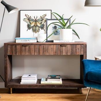 Console bois recyclé brun QUEENSTOWN