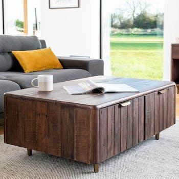 Table basse bois recyclé brun QUEENSTOWN