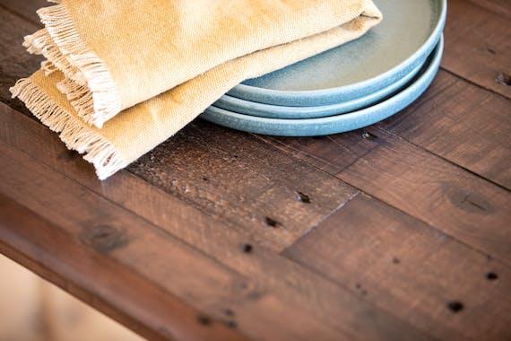 Table à manger ronde bois recyclé brun 120 cm QUEENSTOWN