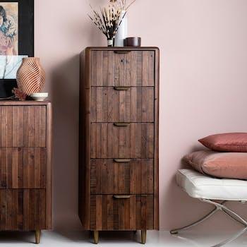 Chiffonnier bois recyclé brun 5 tiroirs QUEENSTOWN