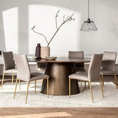 Table à manger bois de manguier forme ovale 220 cm FENI
