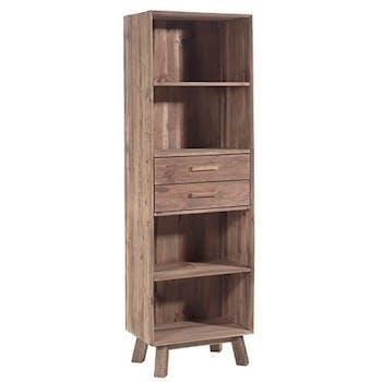 Bibliothèque bois recyclé 2 tiroirs 190 cm DETROIT