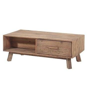 Table basse bois recyclé 2 tiroirs DETROIT