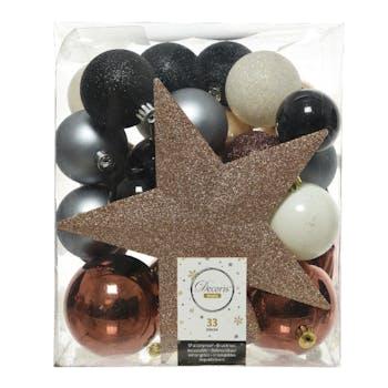 Boite décoration Noël dominante beige 33 pièces