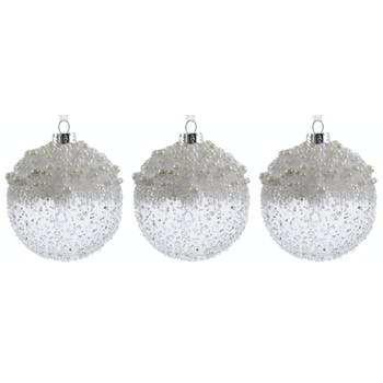 Boite de 3 boules verre moucheté perlé à suspendre