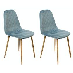 Chaise capitonnée velours bleu gris (lot de 2)