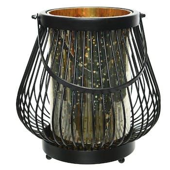 Lanterne métal filaire noire