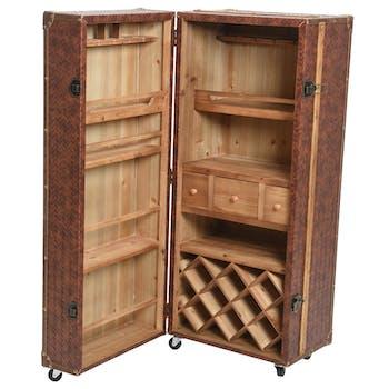 Petite armoire PU marron à roulettes