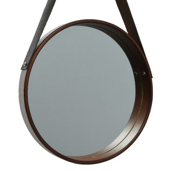 Miroir hublot lanière PU D 50 cm