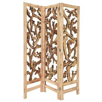 Paravent bois ajouré 3 panneaux 150 x 180 cm
