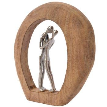 Couple enlacé alu dans cercle bois
