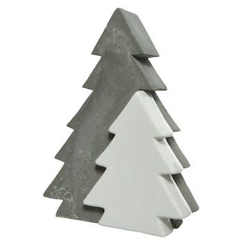 Arbre déco béton gris et blanc
