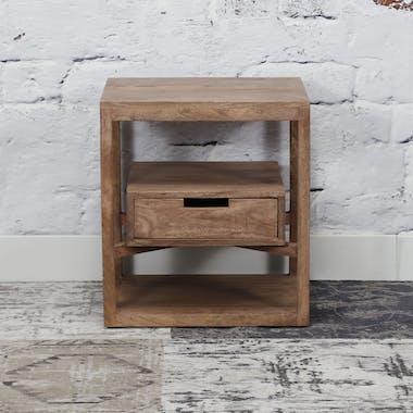 Table de chevet bois de manguier 1 tiroir suspendu DELHI