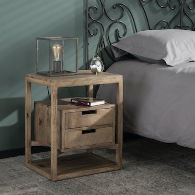 Table de chevet bois de manguier 2 tiroirs suspendus DELHI