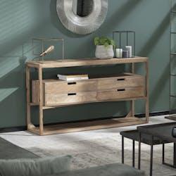 Console bois contemporaine 4 tiroirs suspendus DELHI