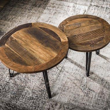 Table gigogne ronde bois recyclé (2 pièces) GAYA