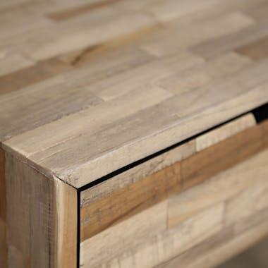 Table de chevet bois de teck recyclé métal JAVA