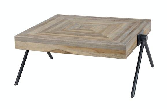 Table basse carrée teck recyclé acier 70 cm JAVA