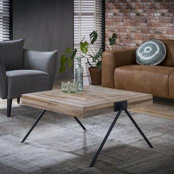 Table basse carrée teck recyclé acier 80 cm JAVA