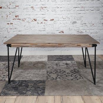 Table à manger bois de teck recyclé piètement épingle 200 cm JAVA