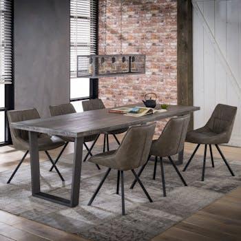 Table à manger contemporaine manguier grisé pieds métal 230 cm LUCKNOW