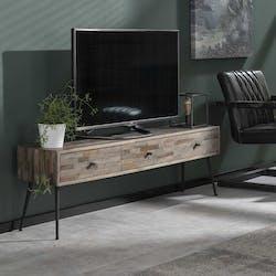 Meuble TV avec rangement bois de teck recyclé JAVA