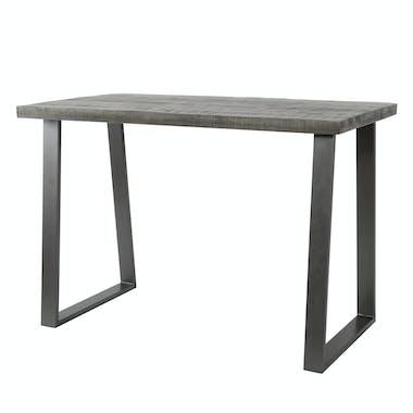 Table bar bois de manguier gris et acier 135 cm LUCKNOW