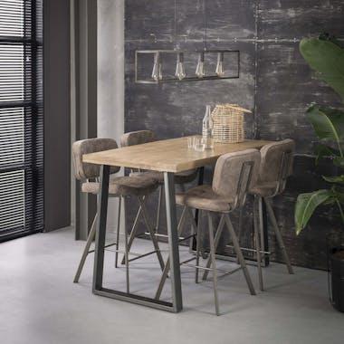 Table bar bois de manguier acier 135 cm LUCKNOW