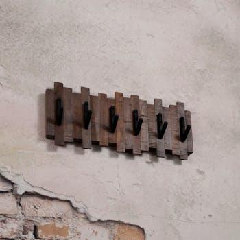 Portemanteau mural bois recyclé teck 6 crochets JAVA